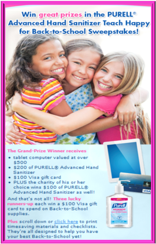 Teach Happy for Back-To-School Sweepstakes (X 9/30/13)