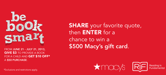 Be Book Smart with RIF & Macy's (X 7/21/13)