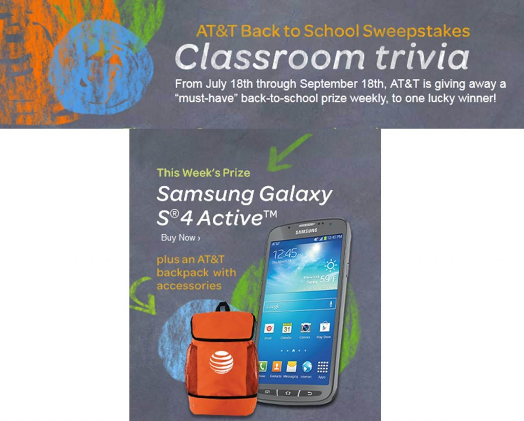 AT&T Back to School Sweepstakes (X 7/31/13)