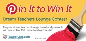@TeacherLists Dream Teachers Lounge Contest (X 9/1/13)