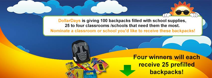 @DollarDays Backpack Back-To-School #Giveaway (X 6/30/14)