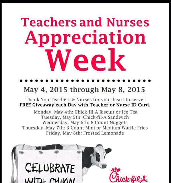 free chick fil a for teacher appreciation