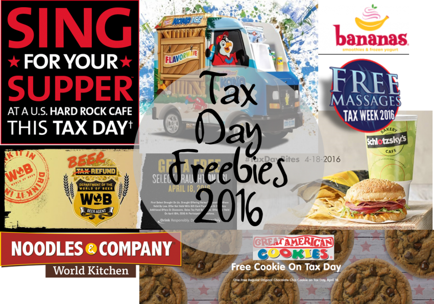 Tax Day Freebies 2016